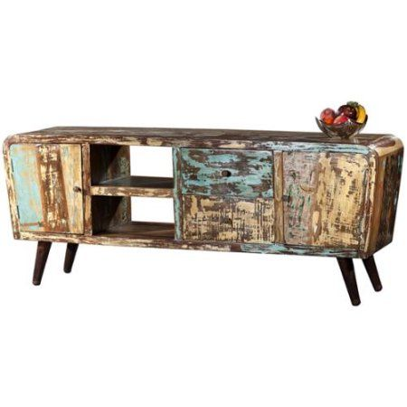 Wanderloot Route 66 Mid-century Modern Reclaimed Hardwood 70-inch Plasma Television and Entertainment Stand (India) - Walmart.com