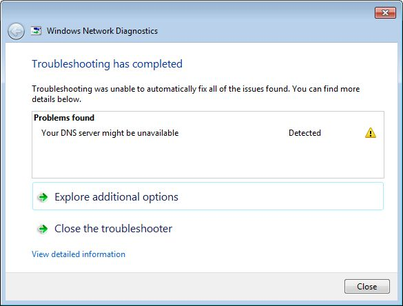Experiencing internet connectionproblems and Running theWindows Network Diagnostic Troubleshooter resultsYour DNS Server might be unavailable?  This problem is related to DNS settings of your ISP or your device or some times third-party antivirus, firewall or wrong DNS configuration cause this.Here some Applicable solutions to fix this DNS server might be unavailable or DNS server not responding issue https://windows101tricks.com/fix-dns-server-might-be-unavailable/