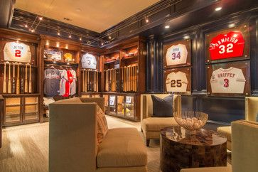 A sophisticated sports mans dream. Hung bats and jerseys make great decor options.