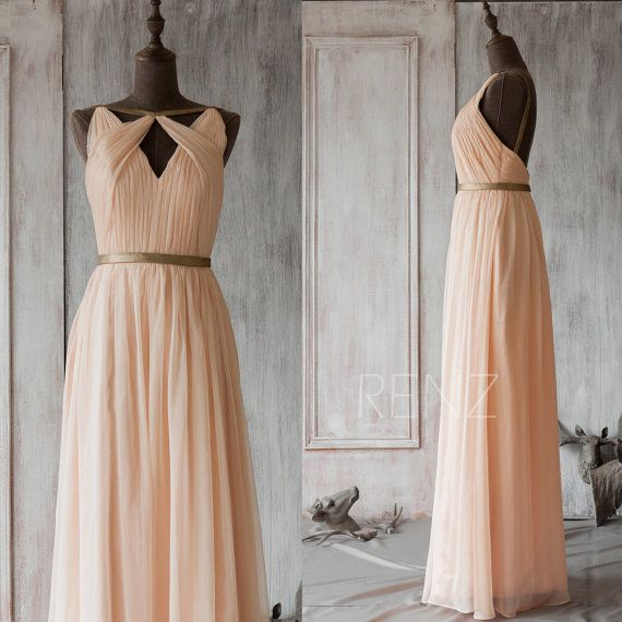 2016 Peach Bridesmaid dress, Hollow Neck Wedding dress, Metallic Trim Party dress, Long Formal dress, Backless Prom Dress (F063A1)-Renzrags