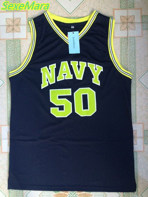 SexeMara Basketball Throwback David Robinson Jerseys #50 Naval Academy NAVY USNA College Basketball Jersey Stitched Shirts #Affiliate