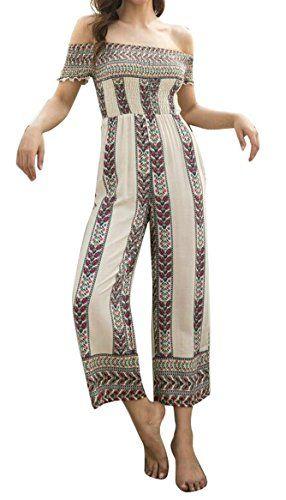 ffbb4f67c5ca LD-women clothes LD Womens Summer Off Shoulder Printed Beach Loose Wide Leg  Romper Jumpsuits
