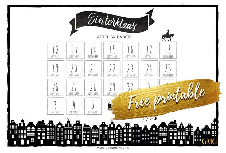 Free printable Sinterklaas aftelkalender | Vul samen met je kindje de aftelkalender in zodat je kind precies weet hoeveel nachtjes slapen het nog is tot pakjes avond! | gemaakt door: gomommygonl
