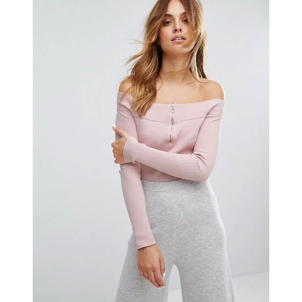Micha Lounge Rib Bardot Top (405 SEK) ❤ liked on Polyvore featuring tops, pink, long sleeve tops, off shoulder tops, double layer top, ribbed off the shoulder top and off the shoulder tops