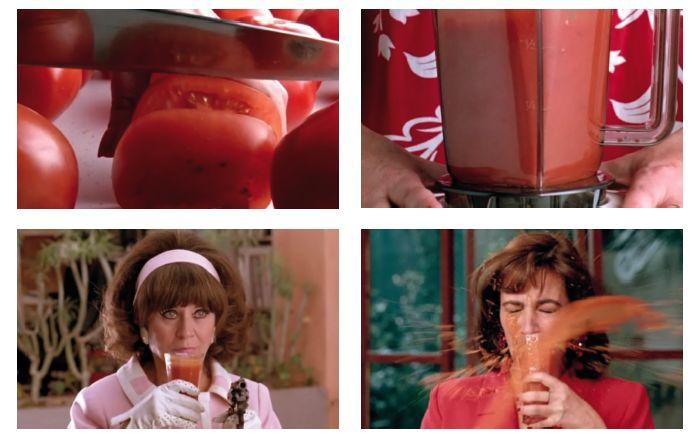 Donne sull'orlo di una crisi di nervi (1988) Pedro Almodovar. Il gazpacho tipico piatto spagnolo (pomodori, cetrioli, peperoncino, cipolla, aglio, olio, aceto, pane secco e acqua) è protagonista di un'incredibile serie di vicende. Pepa sfoga le sue delusioni d'amore nella sua nevrotica preparazione: affetta con rabbia e in preda alla follia aggiunge un potente sonnifero, mette tutto nel frullatore, che gira miscelando un liquido rosso come il sangue, che simboleggia la vendetta.