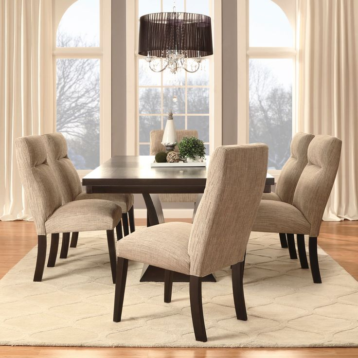 This Charles Dining Set Features An Elegant Oblong Table Of Espresso  Finished Ash, Surrounded By