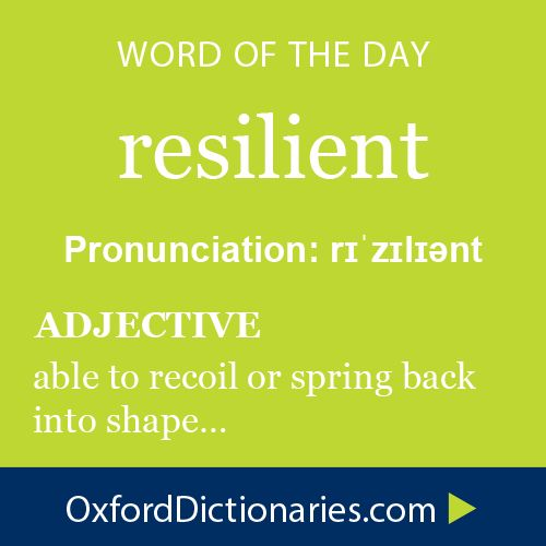 resilient (adjective): able to recoil or spring back into shape. Word of the Day for 22 December 2014 #WOTD #WordoftheDay #resilient