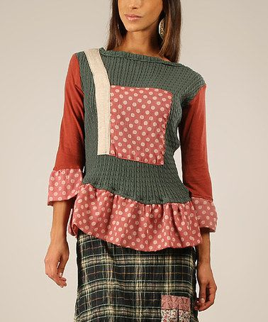 Look what I found on #zulily! Green & Rust Polka Dot Patchwork Boatneck Top #zulilyfinds