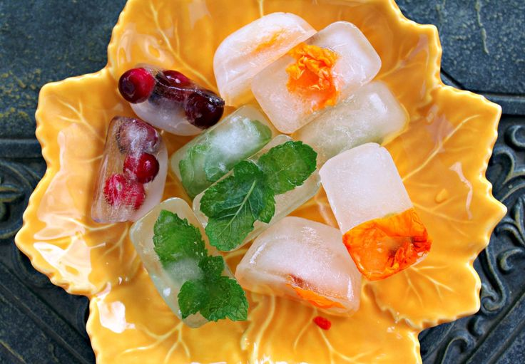 Recipes to make fruit, flower, and herb ice cubes. They are easy to make ahead of time for use at parties or entertaining, or simply to flavor beverages.