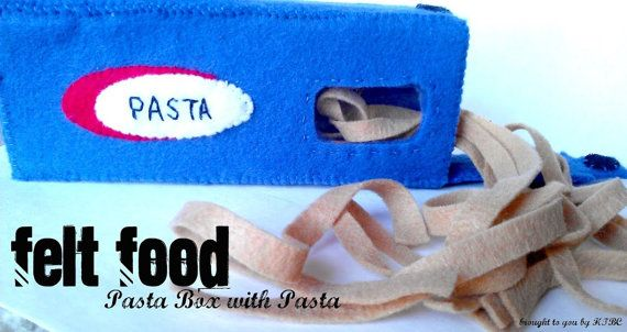 Felt Food Pasta Box with Pasta for Pretend Play by HappyToBeCrafty, $13.75