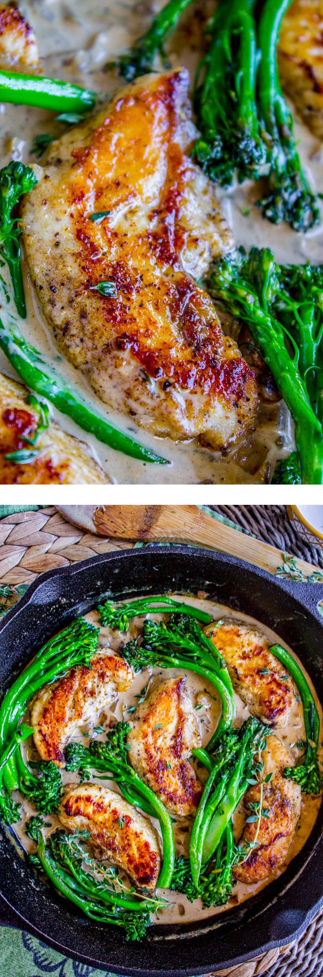 This easy pan-seared chicken is a great weeknight dinner! But it tastes restaurant quality. The creamy mustard sauce compliments the broccolini perfectly!