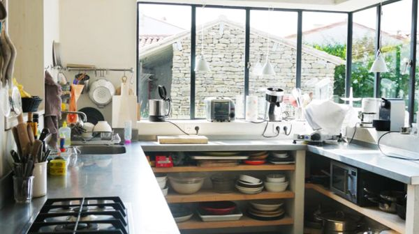 cuisine verrière + plan zinc