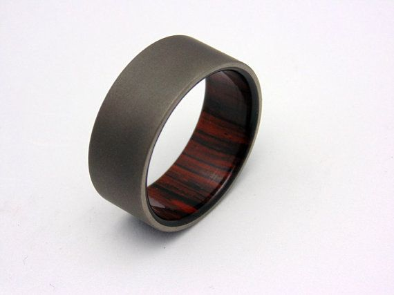 Wood and Titanium Wedding band Beautiful Cocobolo wood liner Waterproof sealed wood    Ring shown is size 10 9mm wide, choose any size you
