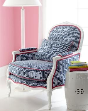 Cozy + chic and Lilly of course!: Lilly Pulitzer, Pattern, Color, Greek Keys, Lilies Pulitzer, Pink, Guest Rooms, Old Chairs, Upholstered Armchairs