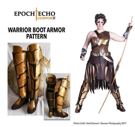 Make your own Amazon Warrior Boot Covers and Armor with this digital download from Epoch Echo Cosworx! This pattern has been inspired by the Amazon warriors seen in the Wonder Woman film. Shield pattern sold separately. This download includes a PDF printable pattern. Sizing: One size fits all, but you may decide to alter the dimensions to best fit your own boots. These patterns are designed to be used with a sturdy fabric, leather, EVA or craft foam, but you can use any material you…