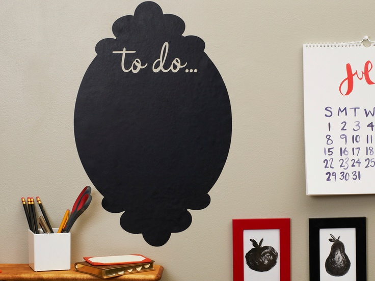 "Chalkboard ""to-do"" list.: Chalkboards Decals, Cute Offices Stuff, Crafts Rooms, Lists Decals, Chalkboards Paintings, Chalk Boards, Bedrooms Idea, Chalkboards Todo, Chalkboards To Do"