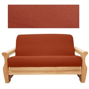 Elegant Ribbed Brick Futon Cover Ly Woven In Rusty Queensizefuton