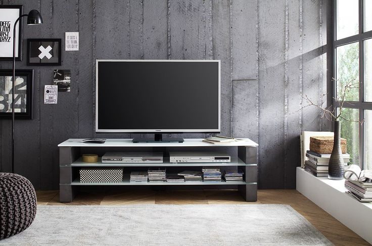 "Amazon.com: OLIVIA TV Stand - grey Concrete effect MDF blocks with Optiwhite Glass - Modern TV stand for up to 70"" TV screens – Mesa TV hasta 70 pulgadas: Kitchen & Dining"