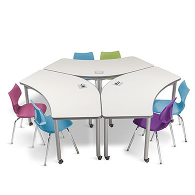 These collaboration tables can be adjusted to stand in a line or in a round table. Power outlets are included in the tables design for powering up our devices.