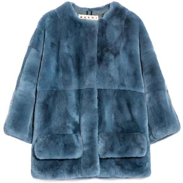 Marni Jacket found on Polyvore featuring outerwear, jackets, coats, blue fur jacket, marni, lined jacket, fur lined jacket and marni jacket