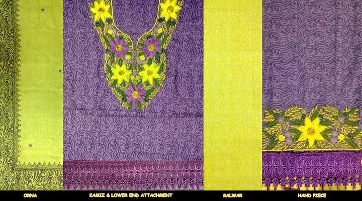 Kameez & Salwar with Tie-Dyed Pure Chifon Orna. Embroidery+Aplic