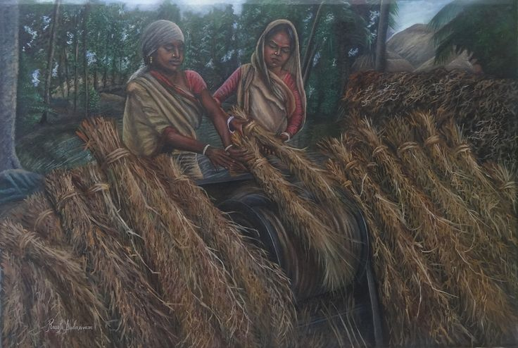 SIMPLE VILLAGE LIFE Size: 36  & 224 Inches Medium: Oil on Canvas They have a lovely simple life. They have certain rules in life and they abide by them no matter what. They do not question. They eat, work, have kids and enjoy their life. So Simple!!!! That is village life.
