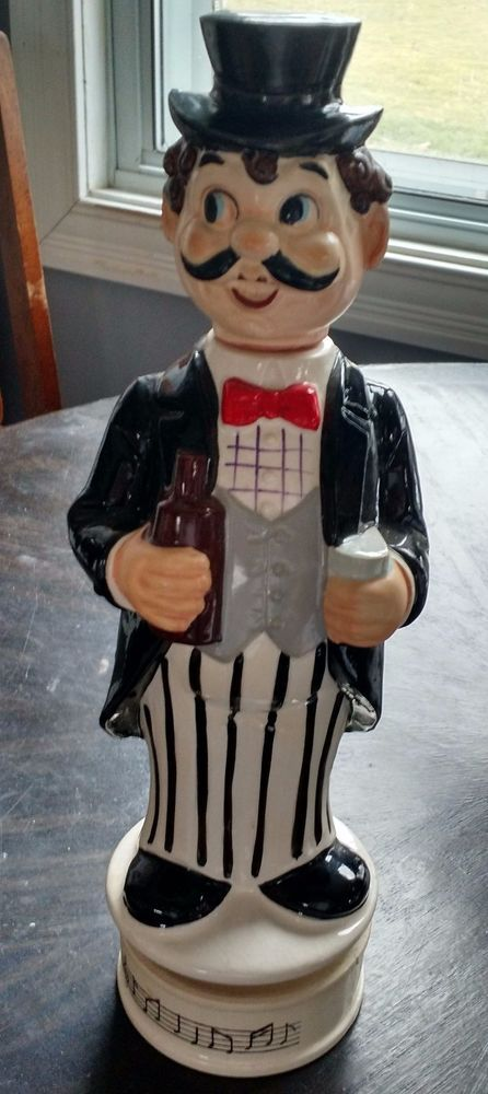 """Vintage Mustache Man Music Box Whiskey Decanter Plays """"How Dry I Am"""" 14.5"""" H"""
