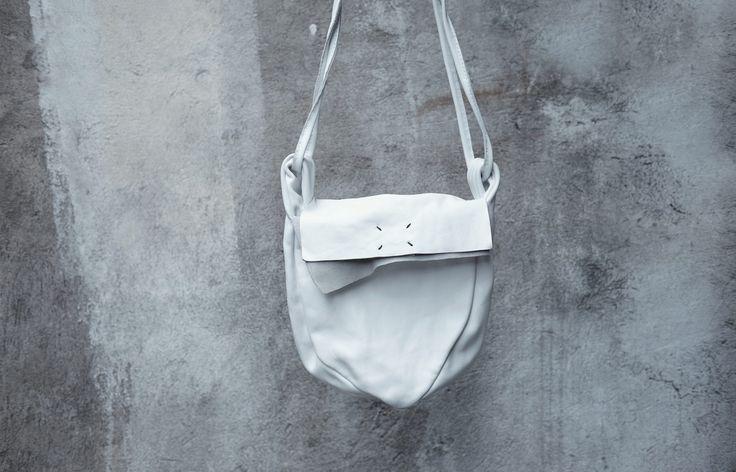 Leather cross body bag 010Y-white – by independent designer ytn7, €269 at Vathir.com   Hand dyed and washed leather bag - Main compartment with cotton lining - Single interior welt pocket 18x22cm - Single patch pocket on the back side 10x12cm - Magnetic closure to the main compartment - Adjustable shoulder strap  Delivered in a linen bag  Only handcraft