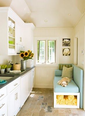 cute laundry room - not to mention the dog looks just like mine :)