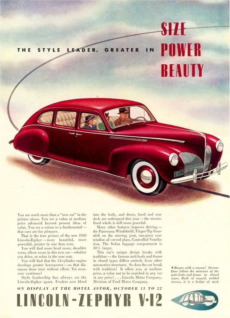 13 best 1940 Lincoln Ads images on Pinterest | Lincoln zephyr, Car ...