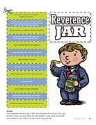 FHE - reverence jar word strips with story from the Friend magazine.