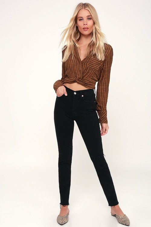 817f7a60231 Free People Lust for Life - Brown Crop Top - Knot Front Top Lust for Life