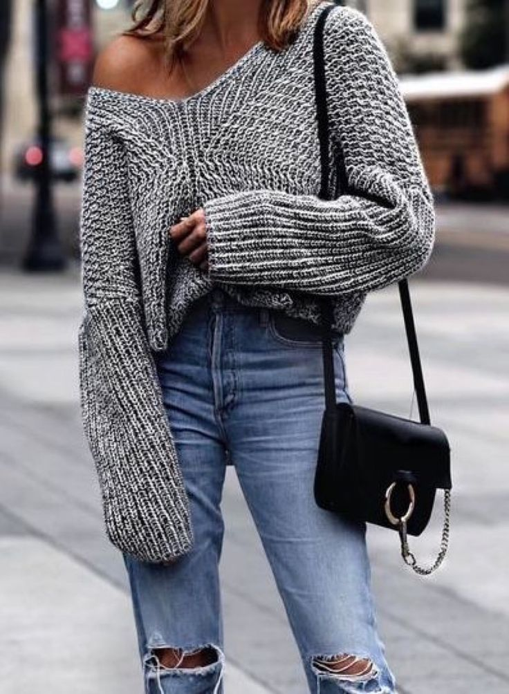 Gray knit sweater + blue jeans + black Chloe bag.  Street style, street fashion, best street style, OOTD, OOTD Inspo, street style stalking, outfit ideas, what to wear now, Fashion Bloggers, Style, Seasonal Style, Outfit Inspiration, Trends, Looks, Outfits.