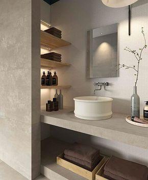 PRIMA MATERIA By Kronosceramiche, Badezimmer Mit Waschtisch Komplett Aus  Feinsteinzeug Fliesen. Nischen Mit Holz