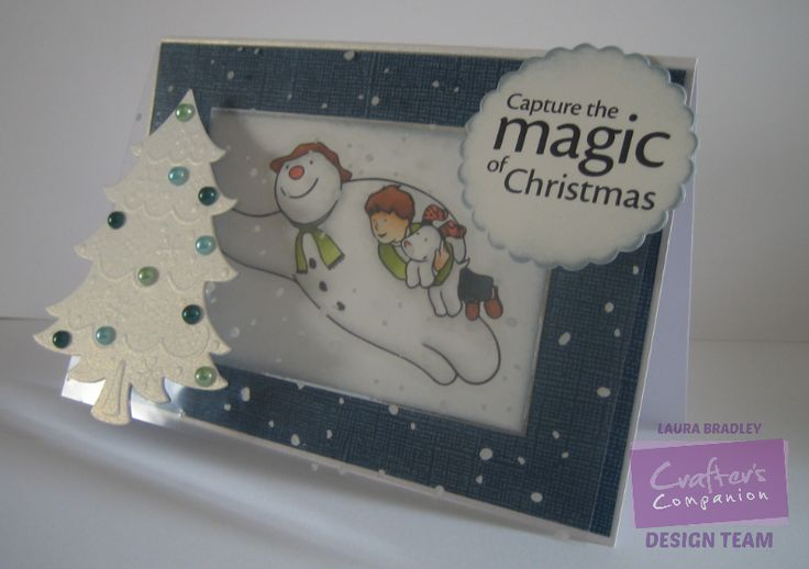 @crafterscomp Snowman and Snowdog stamped image and sentiment, centre from O Christmas Tree Create a Card die
