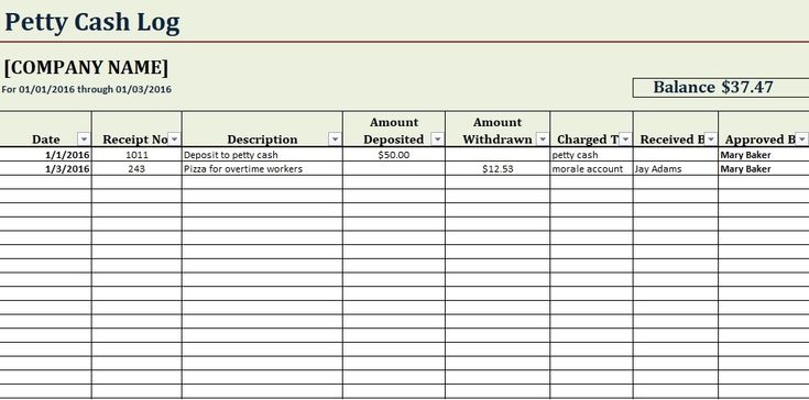 printable petty cash log template excel in 2019