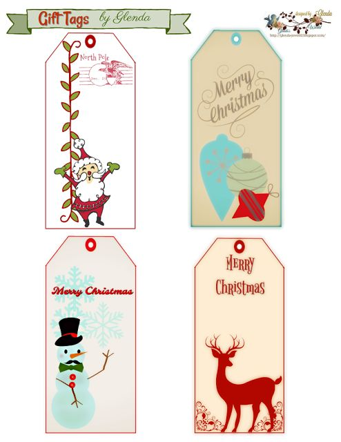 FREE from glenda's World : 2017 Christmas Designs  *** Gift Tags ***