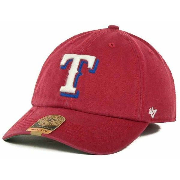 '47 Brand Texas Rangers Mlb '47 Franchise Cap ($30) ❤ liked on Polyvore featuring men's fashion, men's accessories, men's hats, red, mens caps and hats and mens baseball hats