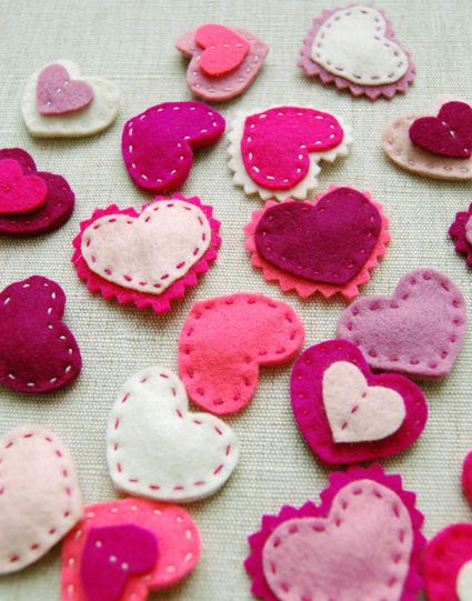 felt hearts
