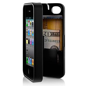 Case for iPhone 4\ 4S with built-in storage space for credit cards.