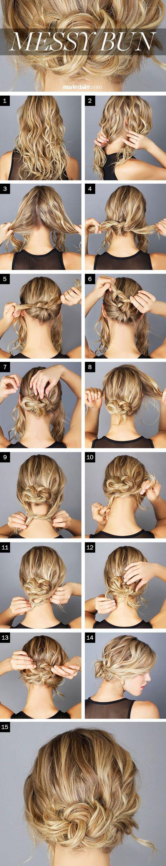 Messy Bun Tutorial for Long Hair