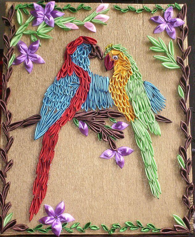 """попугайчики """"Коренлио с Корнелитой"""" - картина,украшение,заколки,аталсные ленты"""