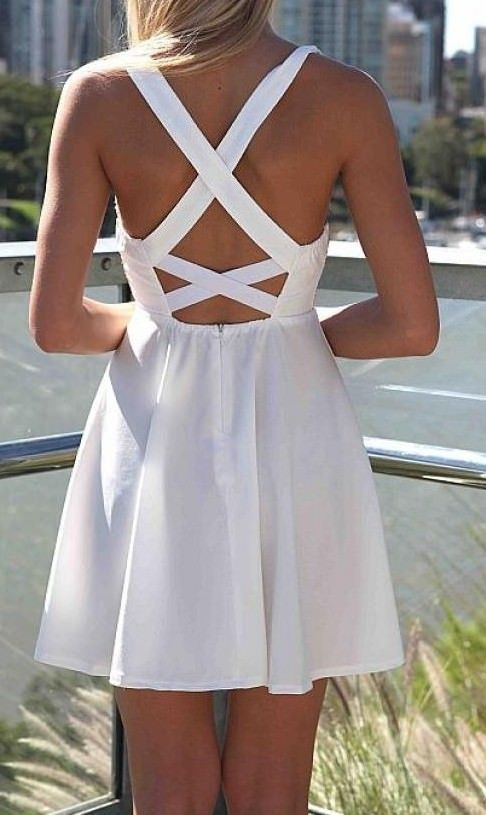 White Skater Dress with Gold Sequin Bodice Criss Cross Back