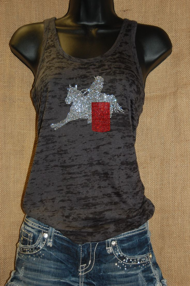 This cool barrel burnout racer racer-back tank top is perfect for those warm summer days. With crystal and siam rhinestones this tank is great for a barrel racing chick! Buy it online for $32 at http://www.rhinestonerodeo.com/Barrel-Racer-Burnout-Tank-RR14.htm