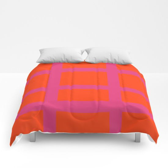 Thick Orange and Pink Grid Comforters by Bravely Optimistic | Society6