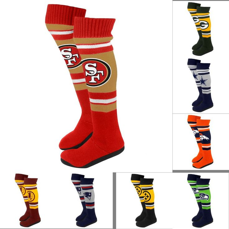 NFL Football 2013 Womens Ladies Plush Knit Knee High Boot Slippers - Pick Team! #ForeverCollectibles