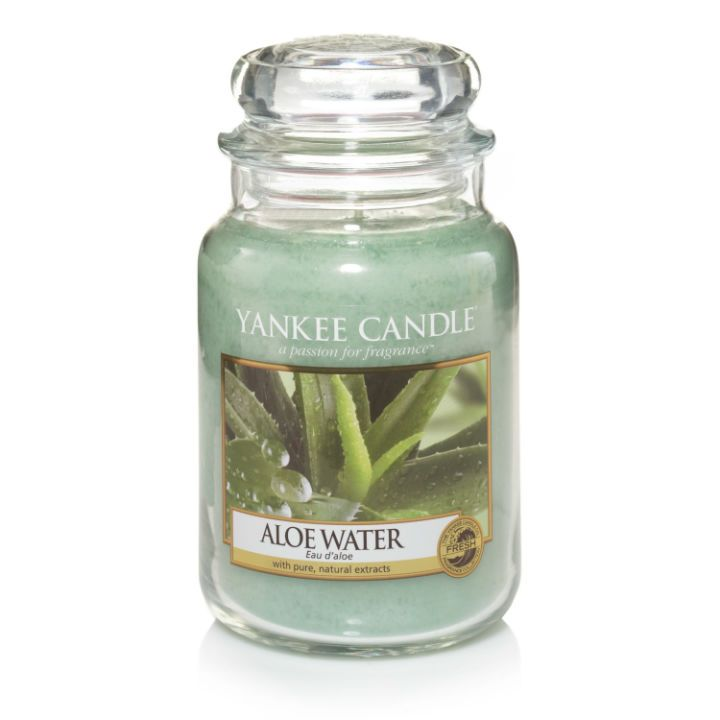 #AloeWater - Large Jar Candle - Yankee Candle Clean, refreshing water blends with thick, soothing aloe to create a wonderfully relaxing fragrance experience.