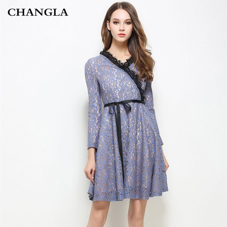 CHANGLA 2017 New Spring Hollow Out Women Dress Long Sleeve V Neck Eyelash Lace Up Ladies Dress Runway Dress Woman Party Dresses