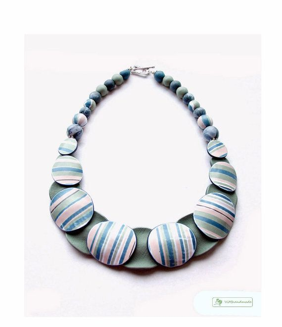 Aged Stripe Double-sided Polymer clay Necklace in muted Green