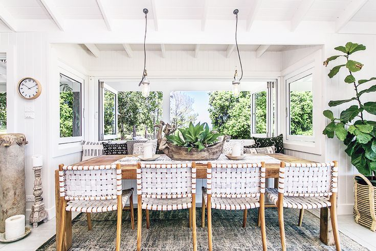 Step inside one very cool bohemian beach home in Australia. (That also happens to be a rental and an event venue!) - Boho White Dining Room